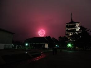 AMAZING fireworks. Five-story pagoda of Kofukuji Temple