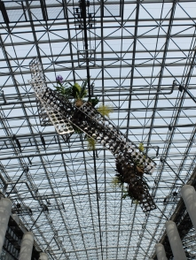 This is a terrible picture but it's a huge metal sculpture with orchids all over it which hangs from the ceiling