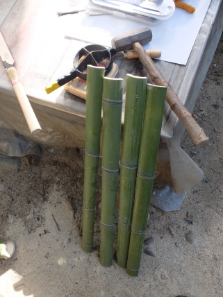 Bamboo splitting tool (takewari) & results.