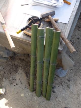 Bamboo splitting tool (takewari) & results.