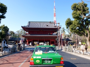 Tokyo old and new, everywhere: Tokyo tower and the gate to Zojoji Temple.