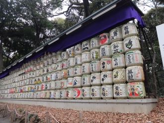 Sake barrels with real sake in them, donated to honour the dead emperor. Hopefully they get drunk at some point.