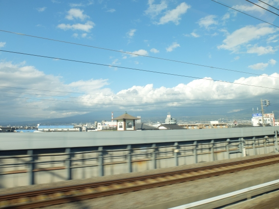 Tried to get a photo of Mt Fuji from the shinkansen: couldn't! It was mostly shrouded in cloud.