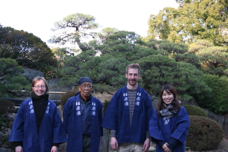 Me, Horonouchi-san, Matt and and Emu Ryan-san in traditional happi coats