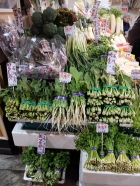 Greens on a market stall