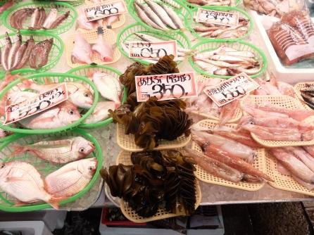 Fresh seaweed and fish