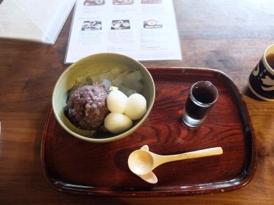 sweet made of agar, red bean and rice flour balls