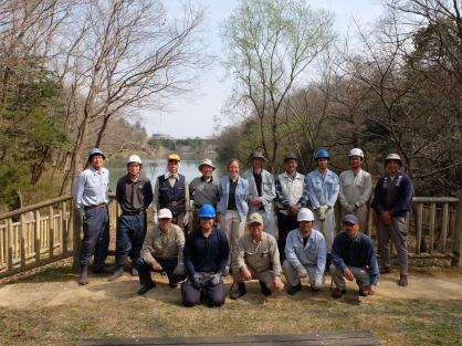 Tree surgeons and woodland volunteers