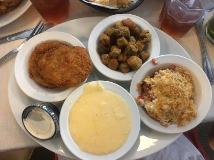 ...And ate Southern food just like in the movies. Sorry America, Southern food is not my favourite. This is fried okra, fried green tomatoes, grits and something else?!